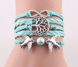 Fashion Infinity Tree flying birds charm Imitation Pearl Leather braid women wrap bracelet Bracelets & Bangles for women jewelry