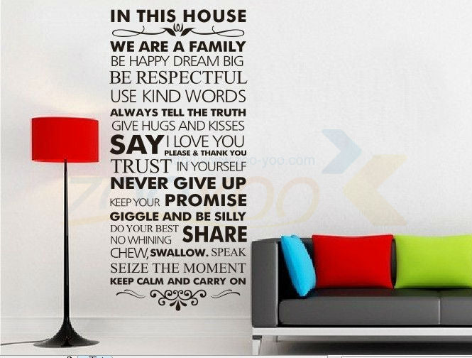 In this house Family Rules Home decor quotes wall decal 8084 decorative adesivo de parede vinyl wall sticker Wall Art