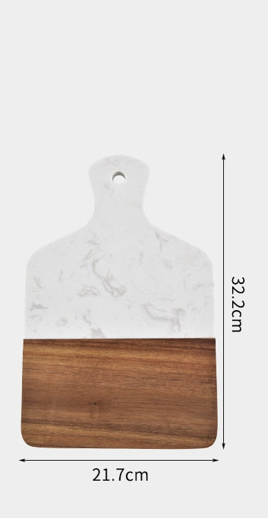 Marble and Acacia Wood Kitchen Chopping Board Non Slip Cutting Blocks Fruit Cheese Tools Knife Accessories Steak Pizza Tray