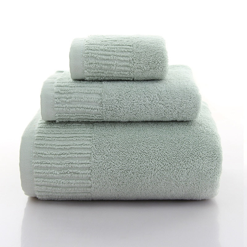 Cotton Thicken bath towel set hand towel face towel and bath towels for adults 10 colors  100% cotton