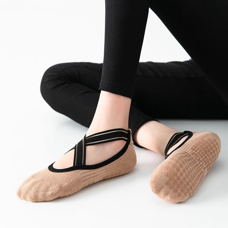 High Quality Bandage Yoga Socks/shoes Anti-Slip Towel Bottom Pilates Sock Breathable Quick-Dry Backless Barre Dance Socks