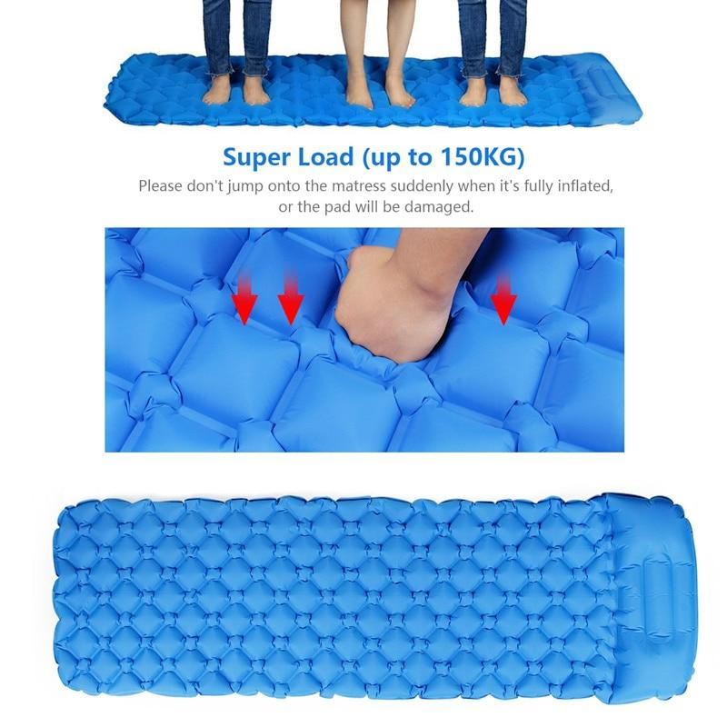 Outdoor mat camp inflatable sleeping mat self inflated mat Sleeping Pad Inflatable Air Cushion Camping with Pillow Air Mattress