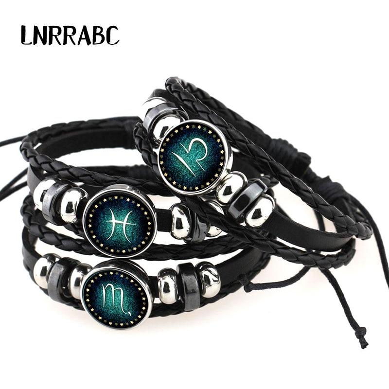 12 Constellations Leather Zodiac Sign with beads Bangle Bracelets For Men Boys Jewelry Travel Accessories Gifts