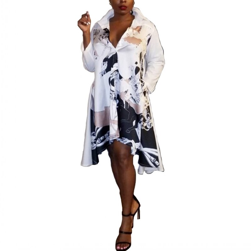 African Dresses For Women African Clothes Africa Dress Print Dashiki Ladies Clothing Ankara Plus Size Africa Woman Shirt Dress