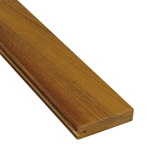 1 x 4 Garapa Wood One-Sided Pregrooved Decking Sample