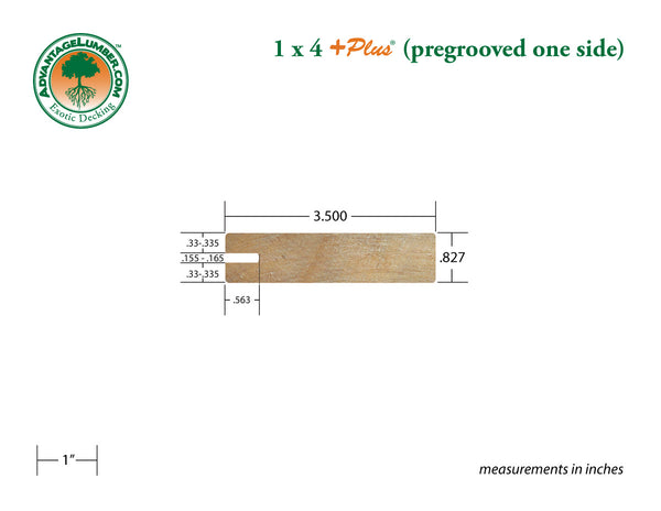 1 x 4 +Plus® Garapa Wood One Sided Pregrooved Decking (21mm x 4)