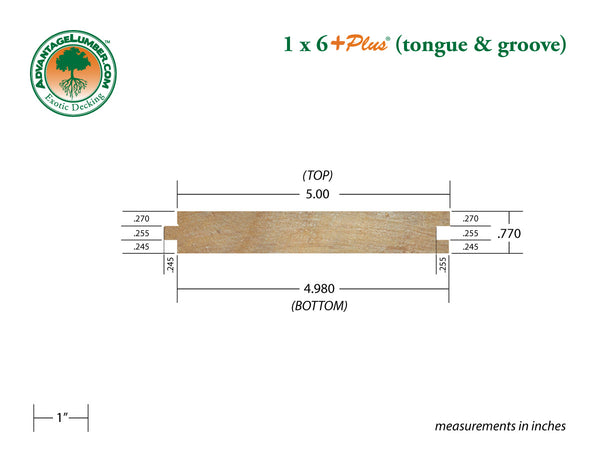 1 x 6 +Plus® Garapa Wood T&G Decking