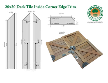 20 x 20 Deck Tile Edge Trim - Inside Corner Set