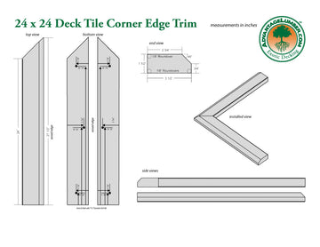 24 x 24 Deck Tile Edge Trim - Outside Corner Set