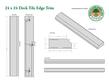 24 x 24 Deck Tile Edge Trim - Straight