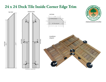 24 x 24 Deck Tile Edge Trim - Inside Corner Set
