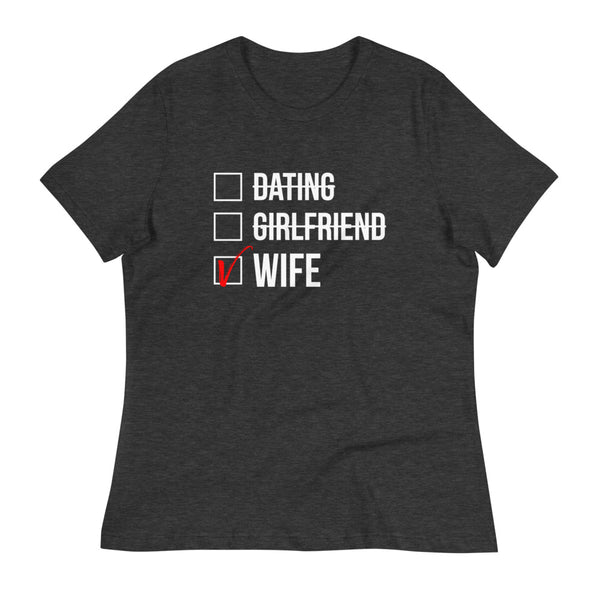 Wife Checked Box (Dark) Women's Relaxed T-Shirt