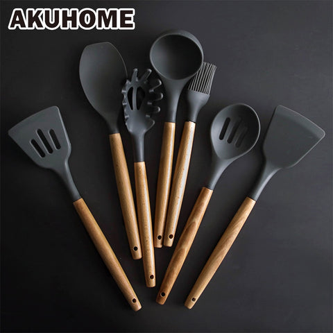 Kitchen Silicone Cooking Tools With Wooden Handle