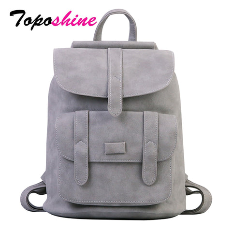 Solid Vintage Leather Women's Backpack