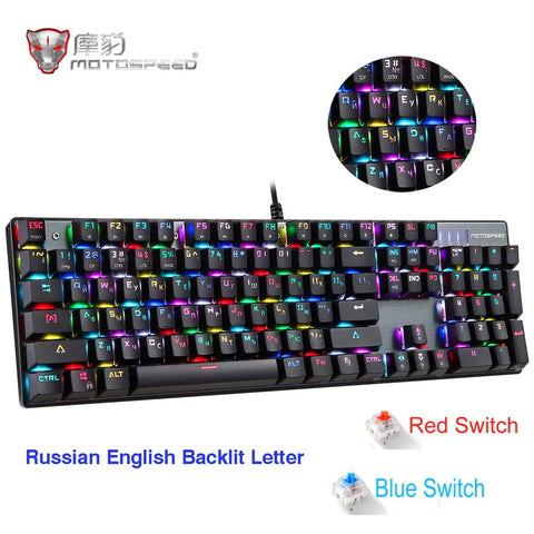RGB Red/Blue Switch Gaming Mechanical Keyboard Russian/English