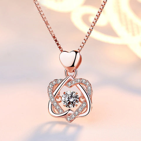 Valentine's Silver/Gold Fashion Romantic Double Heart Necklace