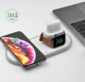 Wireless HOCO Fast Charger One for all 3 in 1 For Samsung S10 S9  , iPhone 8 X XS - 24sevendeal