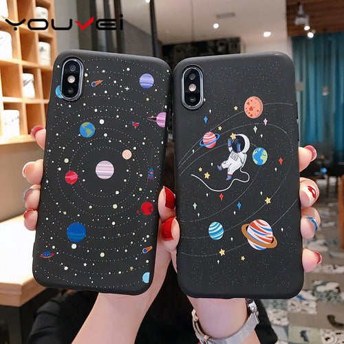 YOUVEI Max Cute Moon Line Patterned Silicon Phone Case For iPhone 5,6,6S,7, 7Plus,8, 8Plus X XR XS