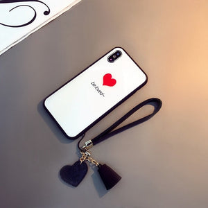 Luxury Tempered Glass Case For iPhone Xr Xs Max iPhone 7 8 6s Plus Tassel Lanyard Love Heart Cover Bumper Shockproof Fundas