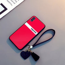 Load image into Gallery viewer, Luxury Tempered Glass Case For iPhone Xr Xs Max iPhone 7 8 6s Plus Tassel Lanyard Love Heart Cover Bumper Shockproof Fundas