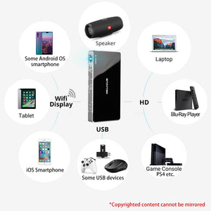 BYINTEK UFO P10 Portable Smart Home Theater Android 7.1.2 OS Wifi Mini HD LED dlp Projector For Full 1080P MAX 4K