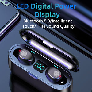 New F9 Wireless Headphones Bluetooth 5.0 TWS Headset HIFI Min Support iOS/Android Phones HD Call