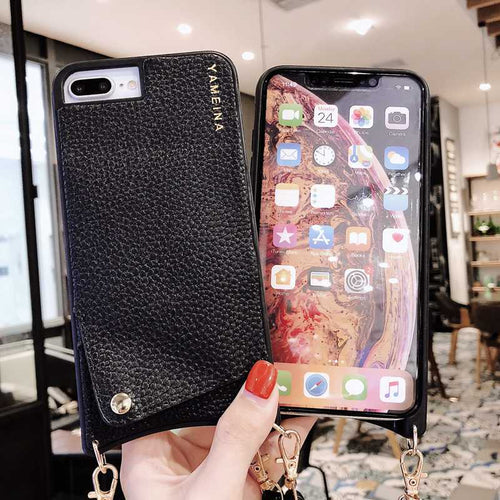 Black Litch PU Leather Cross Shoulder Strap Case For iPhone 11 Pro Max 11 Pro 11 XS Max XR XS X 7 8 6 6S Plus Leather Necklace