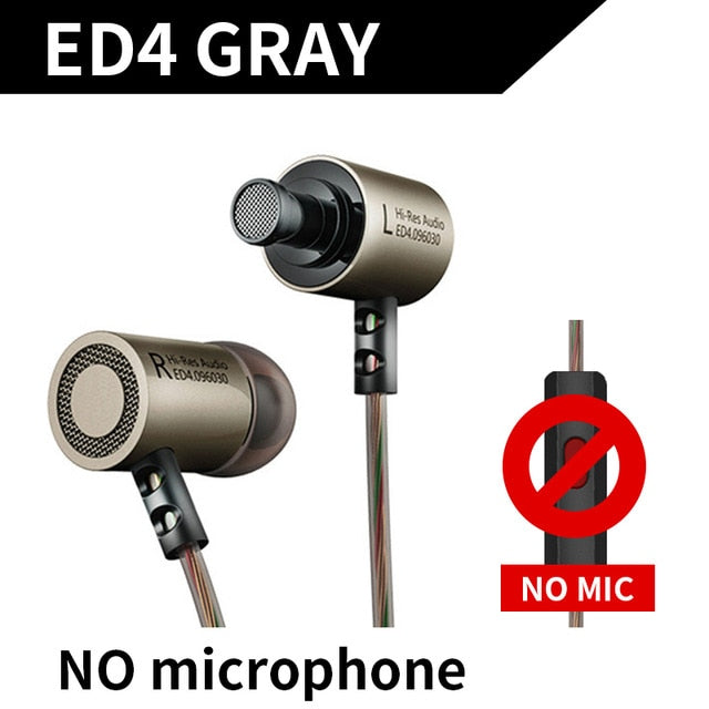 Metal Stereo Earphone Noise Isolating with Microphone by KZ ED4 SILVER - 24sevendeal