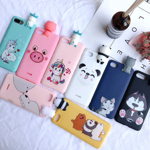 Xiaomi Redmi Case Cover Kawaii 3D Bear Unicorn on 5 Plus Note Capa