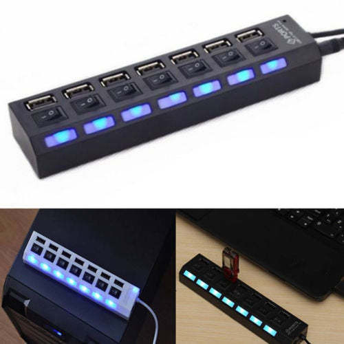 USB 7 Ports Charger Hub with Switch Portable USB Splitter - 24sevendeal