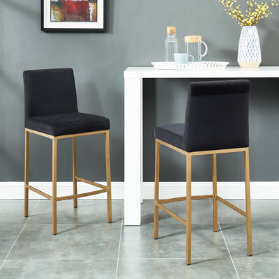 Diego 26'' Counter Stool, Set Of 2-Black/Gold Leg