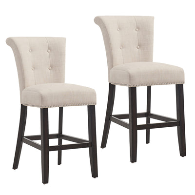 Selma 26'' Counter Stool, Set Of 2-Beige/Coffee Leg