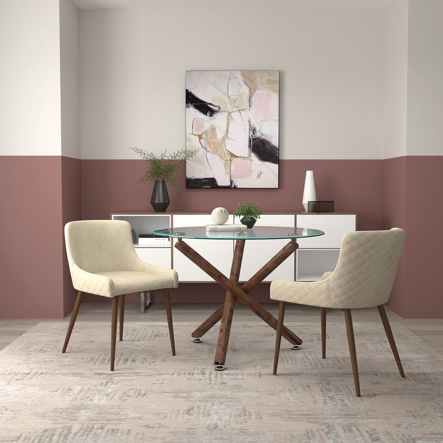 Rocca/Bianca 3Pc Dining Set-Walnut Table/Walnut & Beige Chair