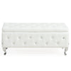 Monique Rectangular Storage Ottoman-White