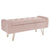 Sabel Storage Ottoman/Bench-Blush Pink/Gold