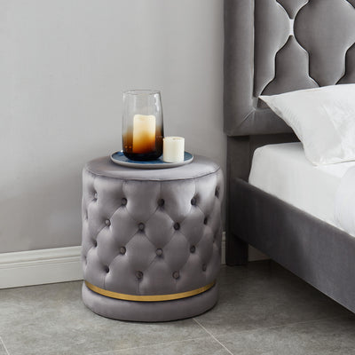 Delilah Round Swivel Ottoman-Grey/Gold