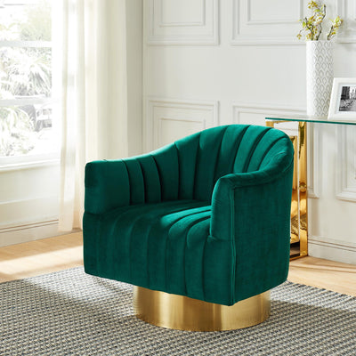 Cortina Swivel Accent Chair-Green/Gold
