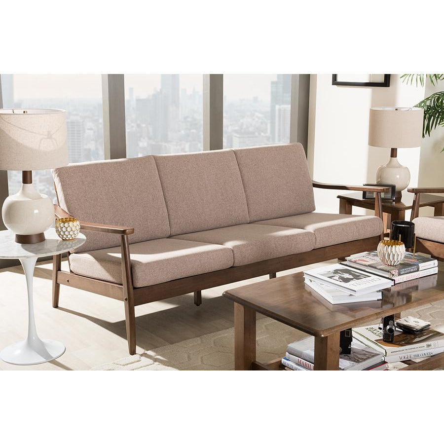 Venza Mid-Century Walnut Wood Light Brown Fabric Upholstered 3-Seater Sofa