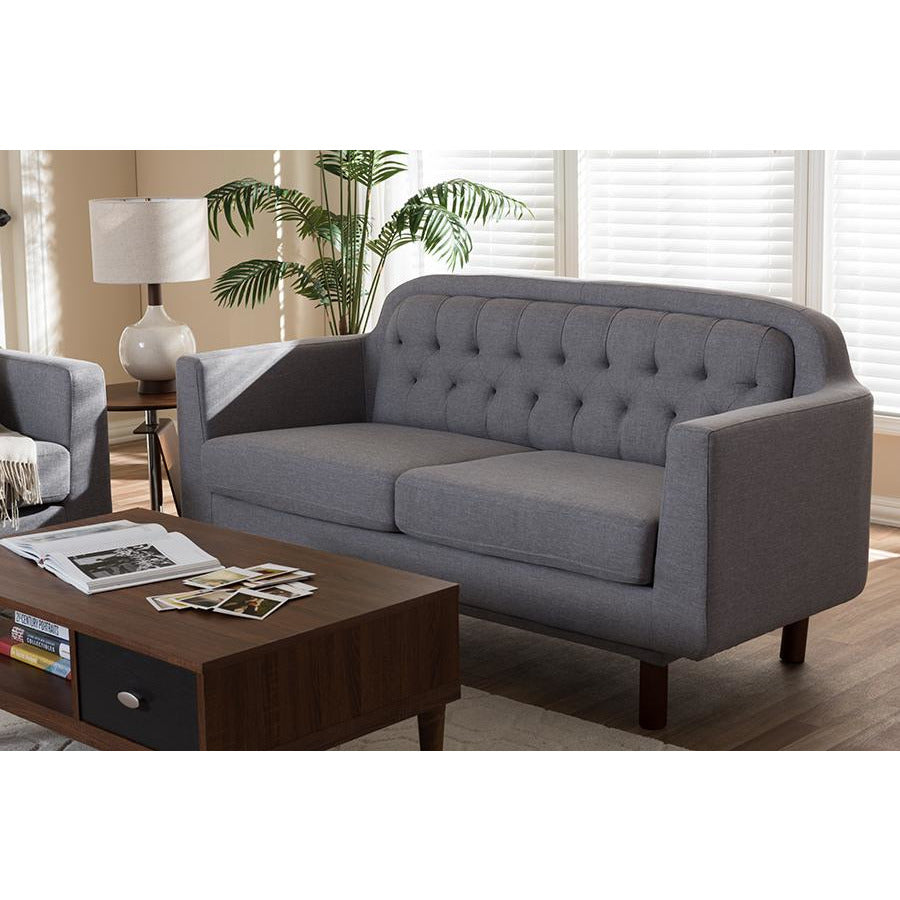 Virginia Light Grey Fabric Upholstered Walnut Wood Button-Tufted 3-Seater Sofa