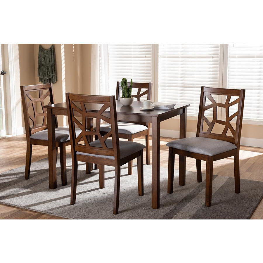 Abilene Walnut Finished and Grey Fabric Upholstered 5-Piece Dining Set