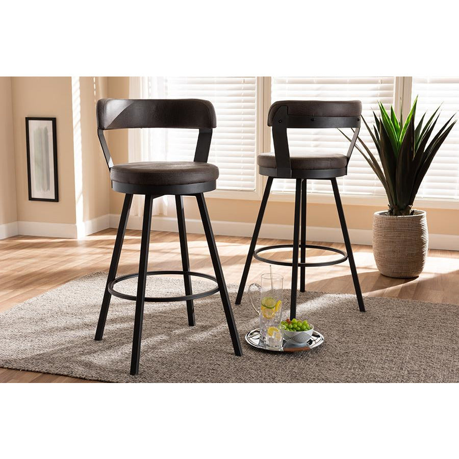 Arcene Rustic and Industrial Antique Grey Fabric Swivel Bar Stool Set of 2