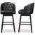 Avril Black Faux Leather Tufted Swivel Barstool with Nail heads Trim (Set of 2)