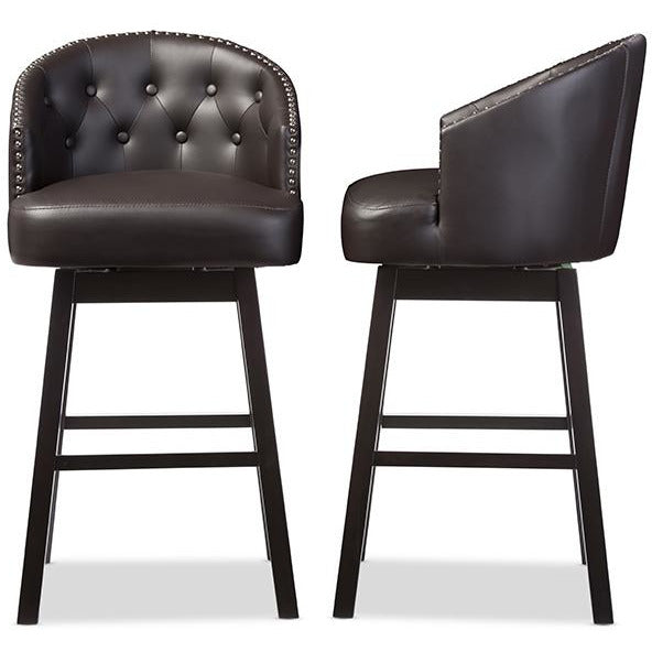 Avril Brown Faux Leather Tufted Swivel Barstool with Nail heads Trim (Set of 2)