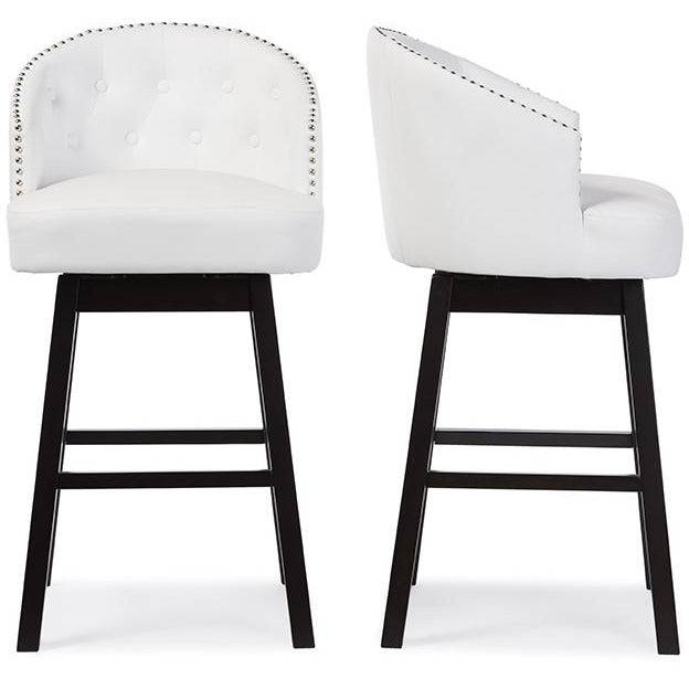 Avril White Faux Leather Tufted Swivel Barstool with Nail heads Trim (Set of 2)