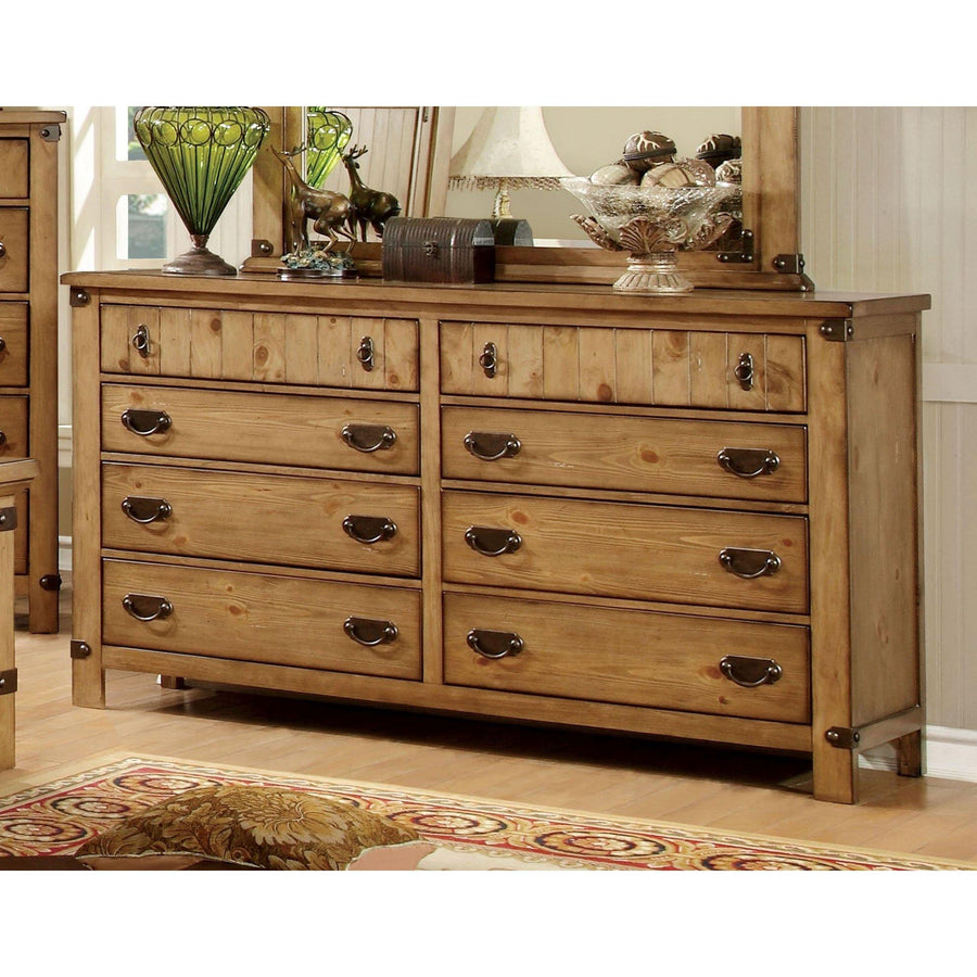 Manis Cottage Style Weathered Elm, 8-Drawer Dresser