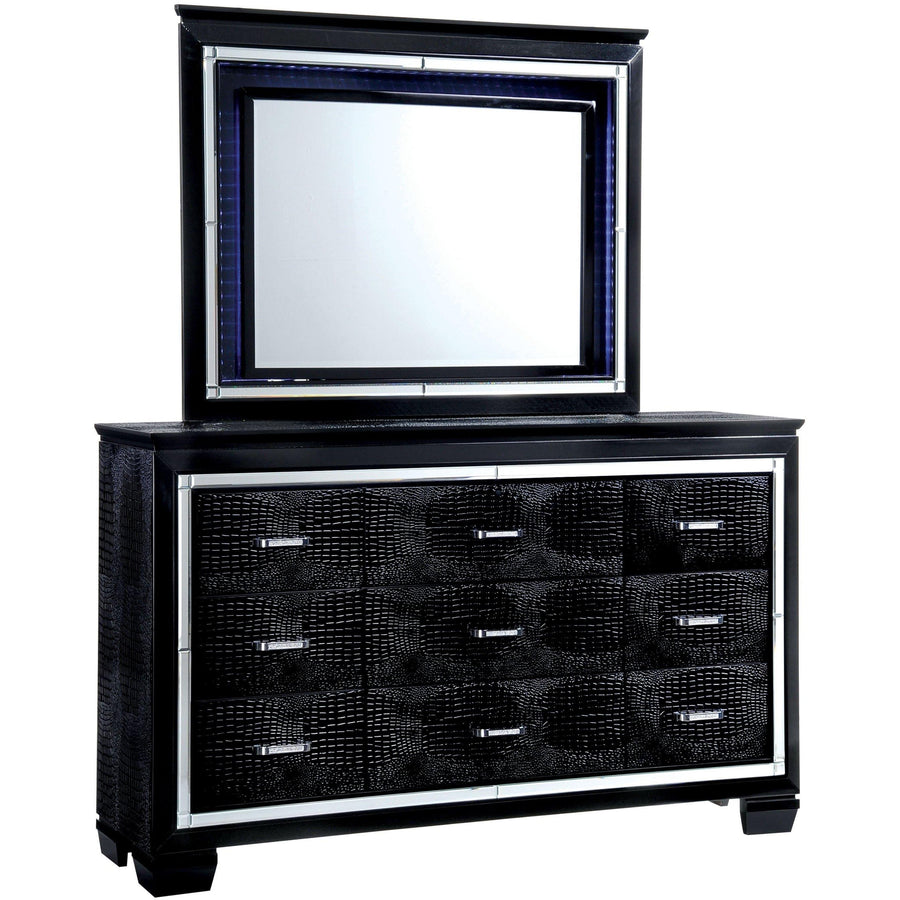 Balitoria Contemporary Style Crocodile Textured Dresser and Mirror Set in Black