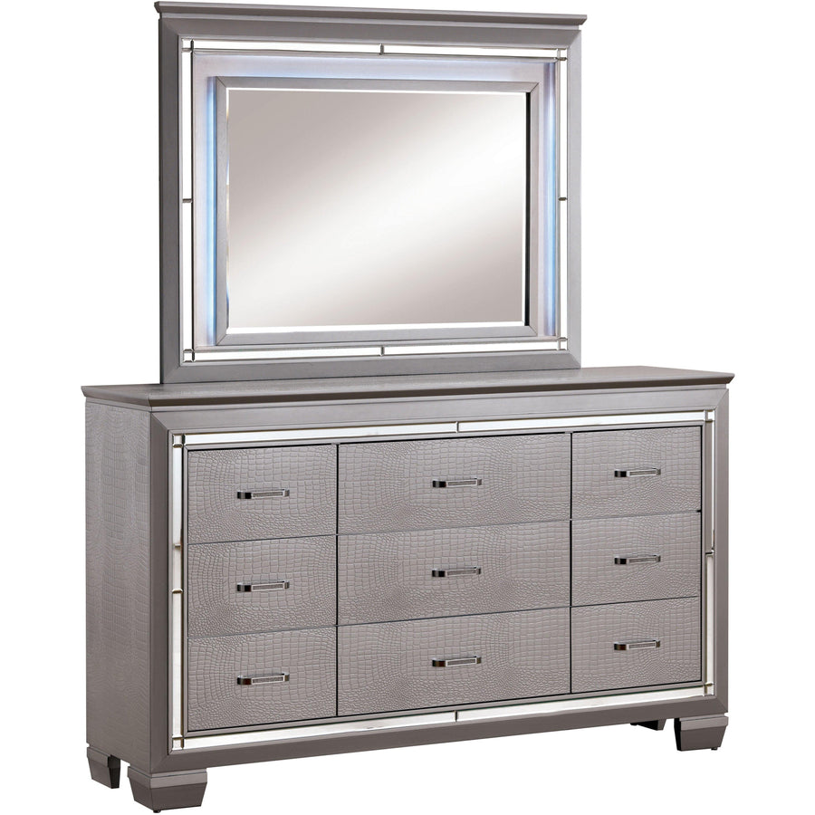 Balitoria Contemporary Style Crocodile Textured Dresser and Mirror Set in Silver
