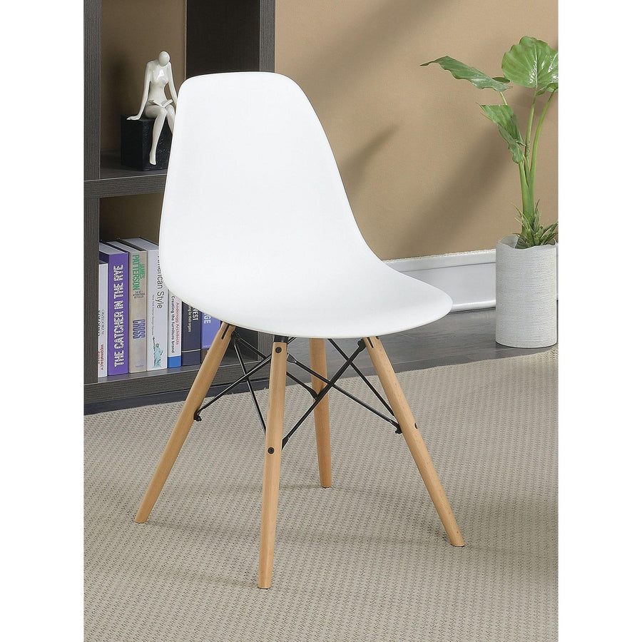 Gerald Mid-century White Accent Chair (Set of 2)