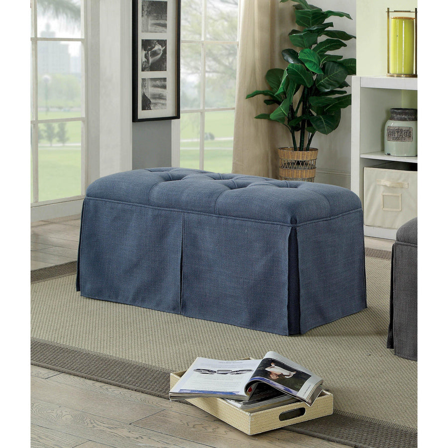Troyes Transitional Tufted Bench in Blue