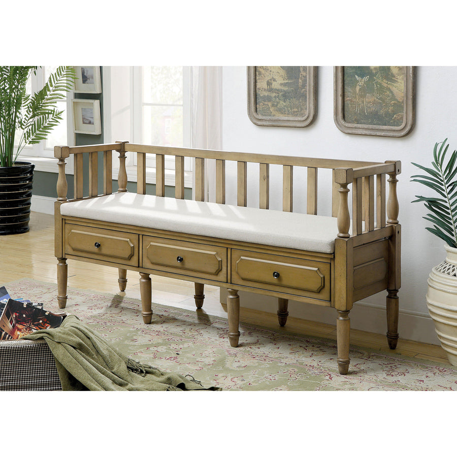Valley View Transitional Storage Natural Tone Hallway Bench